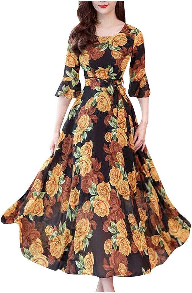 Maxi Dresses for Women,Plus Size Women Floral Long Dress Boho Short Sleeve Party Beach Sundress