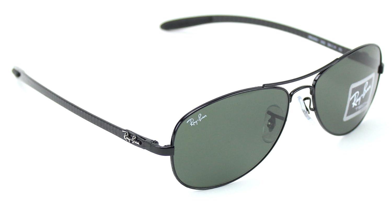 efd20a13692 Amazon.com  Ray-Ban RB8301 002 CARBON FIBRE Black Frame   Green G-15 Lens  56mm  Clothing