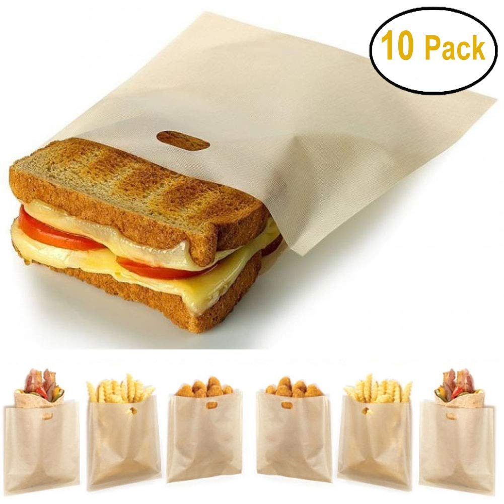 Non Stick Toaster Bag (10 Pack), Reusable, Heat Resistant, Gluten Free And FDA Approved - Perfect for Grilled Cheese Sandwiches Pizza Slices Chicken Nuggets Fish Vegetables Panini & Garlic Toasts