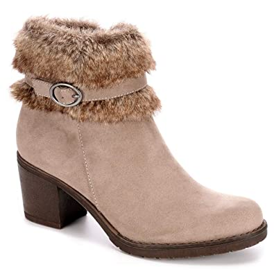 85a3a32f4376 XAPPEAL Womens Bunny Faux Fur Heeled Ankle Boot Shoes