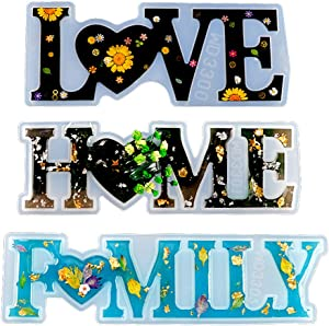 thanksky Unique Design Letters Crystal Resin Molds, Love/Home/Family Sign Resin Casting Molds, DIY Epoxy Molds to Indoor/Home Decor, Home Sign/Wall Art/Wall Hanging (Mix)