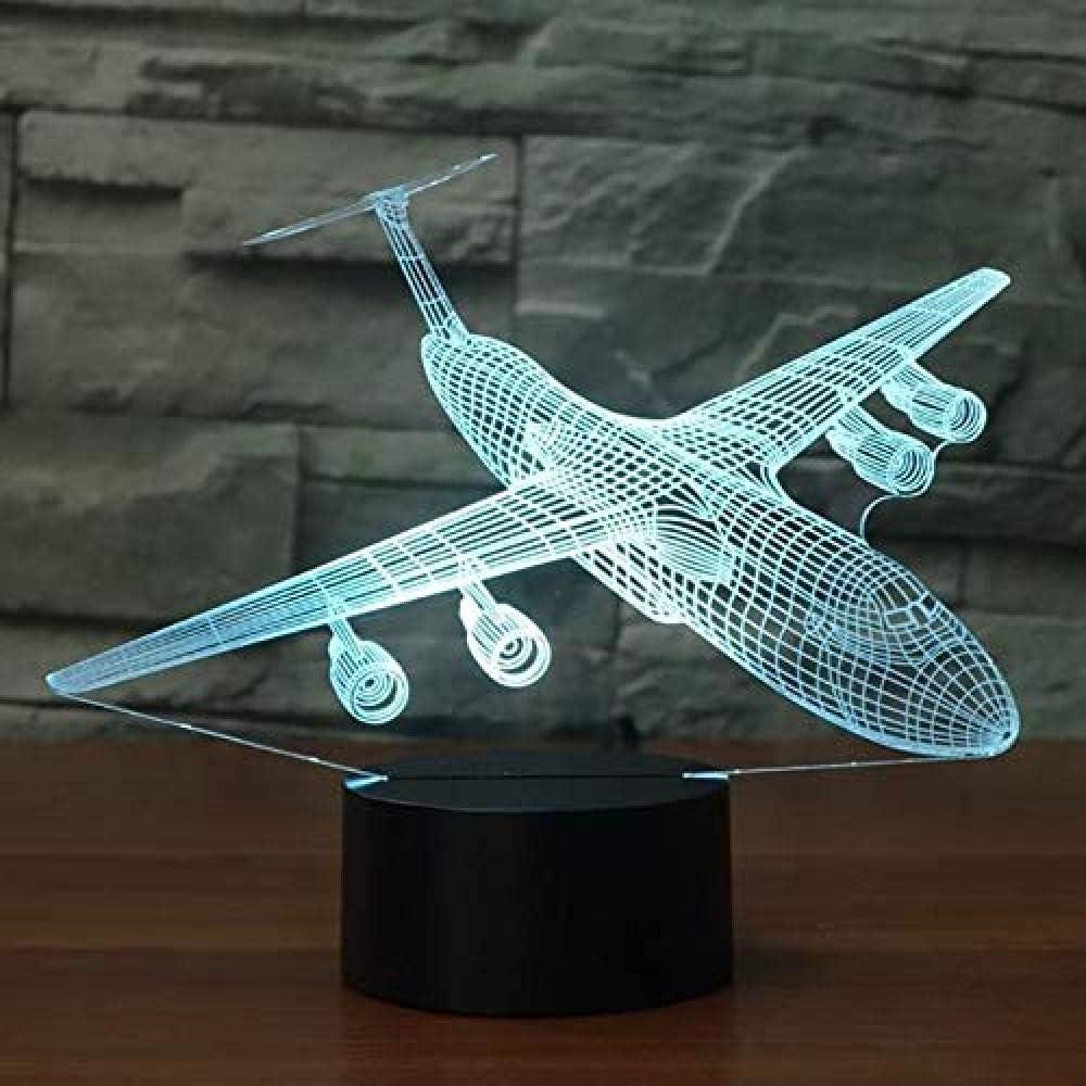 yrxh USB Baby Sleep Lighting 7 Colors Changing Aircraft Night Light 3D Led Air Plane Table Lamp Bedroom Bedside Decor Xmas Kids Gifts