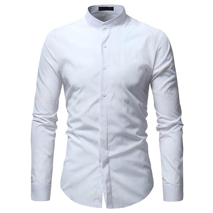 5b63167c7e7d72 Camicia Uomo LandFox Slim Fit Camicia da Uomo Maglietta a Maniche Lunghe  Casual da Uomo con