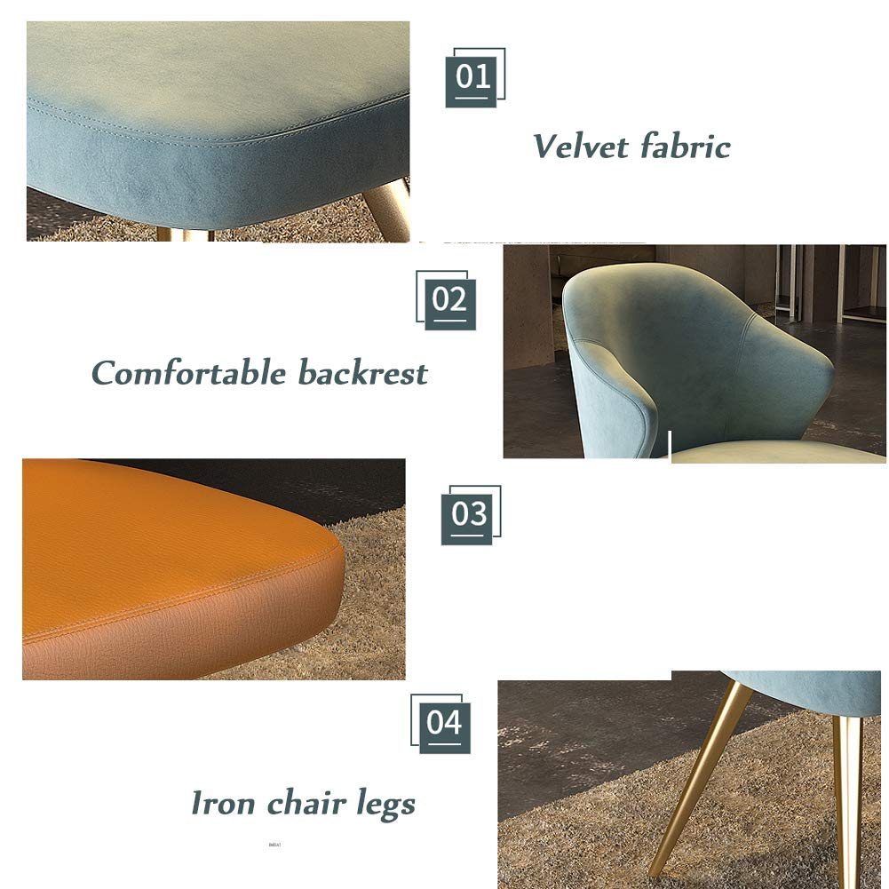QQXX Chair Office Meeting Dining Breakfast Stool//Seat,Metal Frame//Velvet Fabric,for Pub//Cafe//Dressing Room//Study Room//Living Room//Dining Room,2 Colors