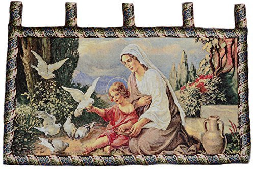 (Tache Mother and Child in Garden Jacquard Wall Hanging Woven Tapestry Wall Art Decor - 42 x 23 Inch)