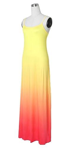 DaBag Ropa Mujer Vestido Bobo Colores de degradado Verano de Playa Fiesta Noche de Tirantes Largos Maxi: Amazon.es: Ropa y accesorios