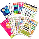 Planner Stickers Variety Bundle Set (Qty 1070+) for Moms & Dads, Home, Work, Family, School Events, Birthdays, Holidays, Bills, Appointments, Party, Sports, Date Night, Water & Fitness for Any Planner