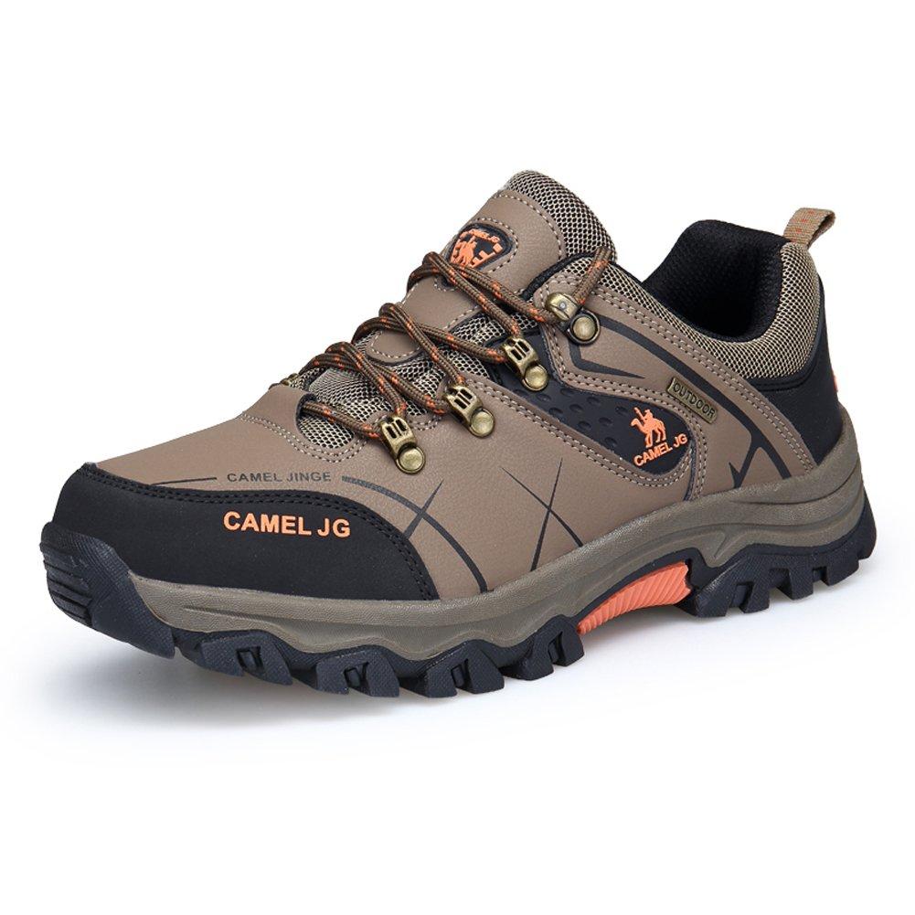 Gomnear Wasserdichte Herren Trekking & Wanderhalbschuhe Leder Outdoor Schuhe,Braun-39