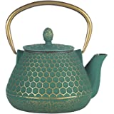 Cast Iron Tea Kettle, Japanese Tetsubin Teapot Coated with Enameled Interior, Durable Cast Iron Teapot with Stainless Steel I