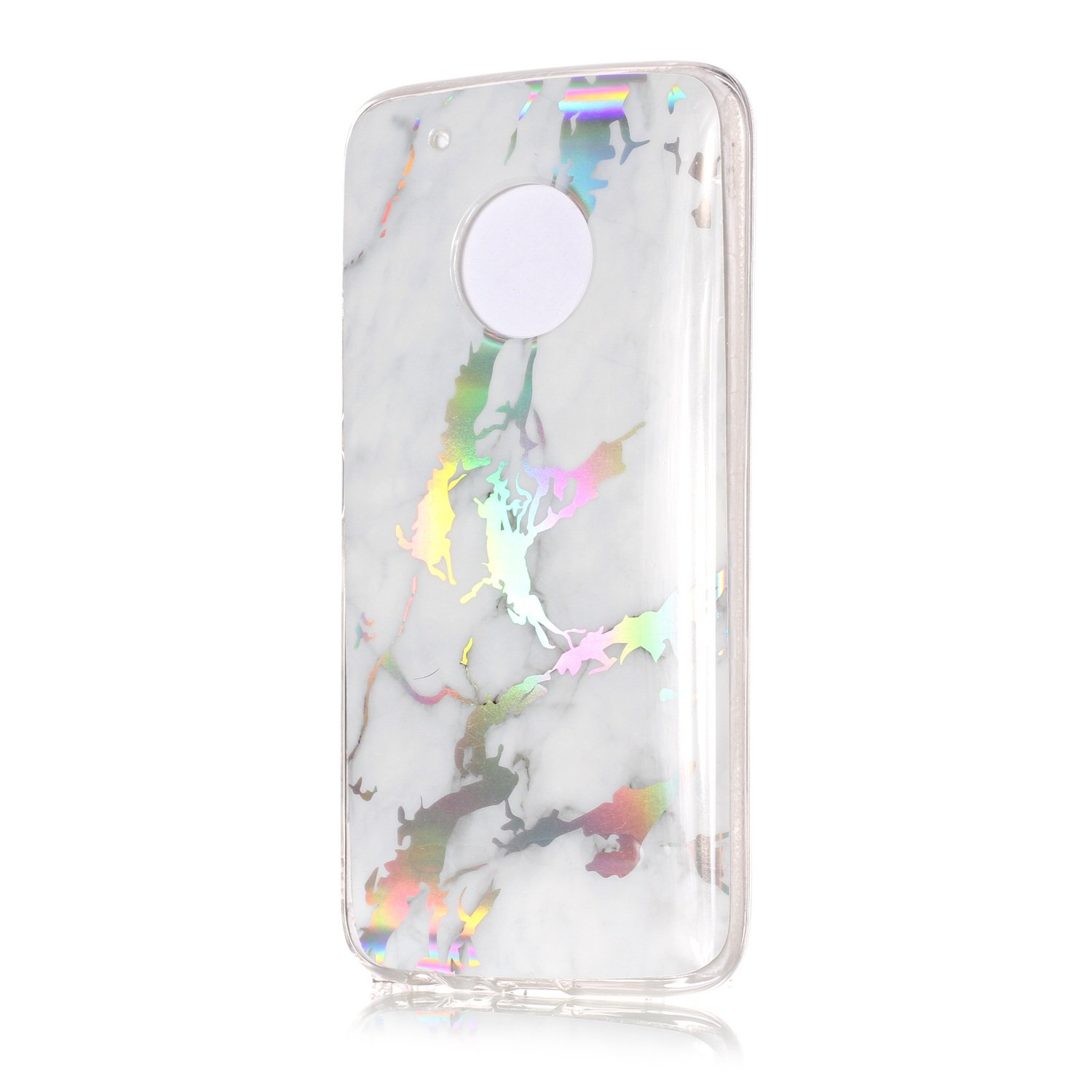 For Moto G5 Marble Case Blue,OYIME Unique Luxury Glitter Colorful Plating Pattern Skin Design Clear Silicone Rubber Slim Fit Ultra Thin Protective Back Cover Glossy Soft Gel TPU Shell Shockproof Drop Protection Protective Transparent Bumper and Screen Prot