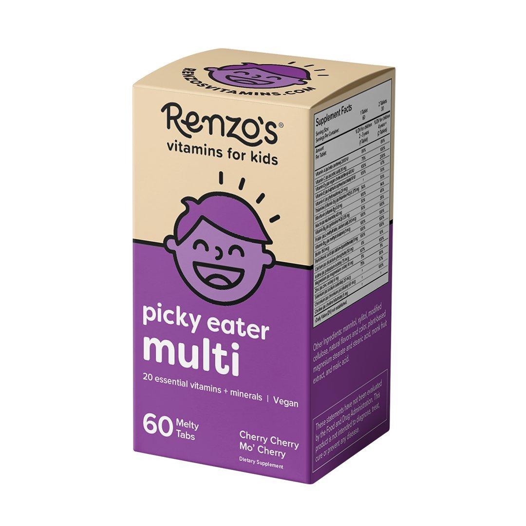 Renzo's Picky Eater Multi, Vegan Dissolvable Vitamins for Kids, Zero Sugar, Cherry Cherry Mo' Cherry Flavor, 60 Melty Tabs