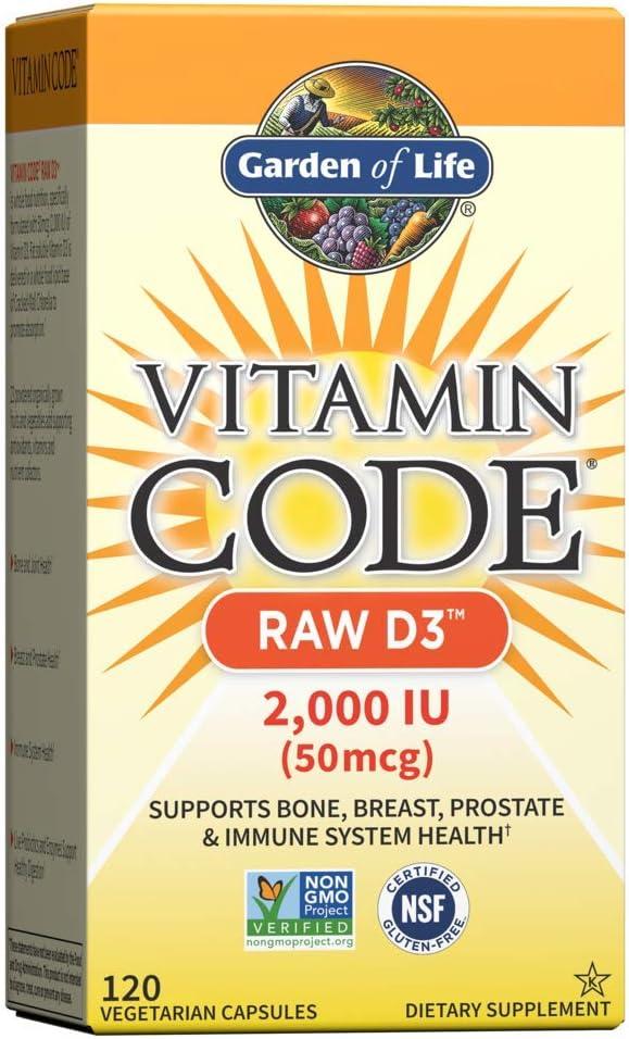 Garden of Life Vitamin D, Vitamin Code Raw D3, Vitamin D 2,000 IU, Raw Whole Food Vitamin D Supplements with Chlorella, Fruit, Veggies & Probiotics for Bone & Immune Health, 120 Vegetarian Capsules