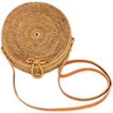 Bali Harvest Round Woven Ata Rattan Bag with Bow Clasp (with Genuine Leather Strap)