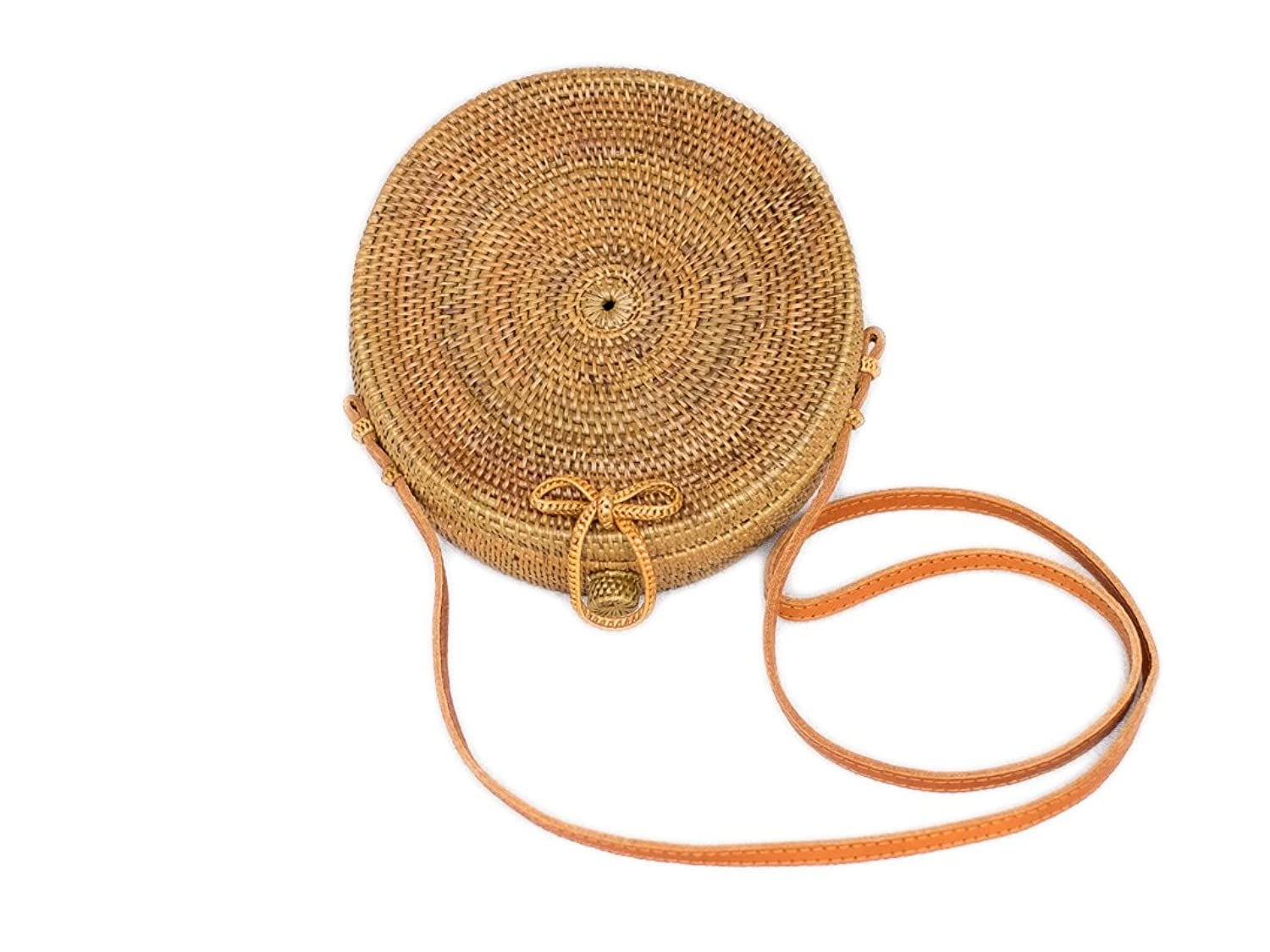 317cde2df Bali Harvest Round Woven Ata Rattan Bag with Bow Clasp