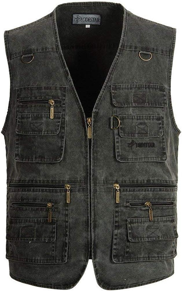 Saoye Fashion Gilet da Uomo Estivo in Cotone per Il Tempo Libero Giovane Outdoor Plus Gilet di Jeans Giubbotto Multi Tasche Senza Maniche Jean Jacket Photographer Vest