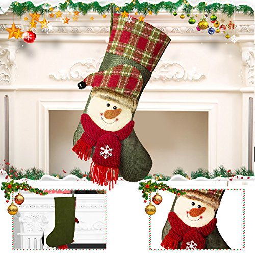 NONZERS Lovely Christmas Stockings-Classic Christmas Stockings,3 Pcs of Xmas Gift Candy Bag,Santa Snowman Reindeer Toys Stockings,3D Applique Style Christmas Stockings Decoration for Kids (17.7Lx7.5W) by NONZERS (Image #3)