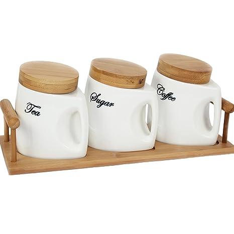 Barattoli in ceramica, contenitori per tè, caffè e zucchero, con ...