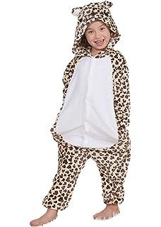 0c6972d9b1 Niños Pijama Kigurumi Animal Cosplay Disfraces Animados Oso Leopardo Ropa  de Dormir para Unisex Altura Entre 9