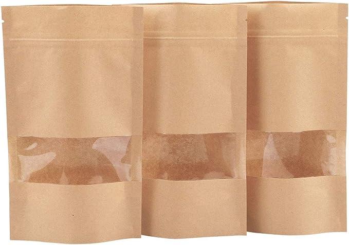 16*26*4 cm Kraft window ziplock bag  fruit food self-sealed bags tea  bag Window 100pcs custom sizes logo