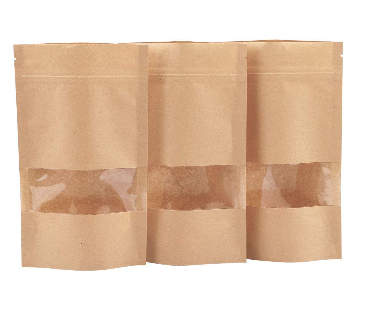 Dproptel - Bolsas de papel kraft impermeables con ventana, 50 unidades, reutilizables, con cierre hermético y cierre hermético, color marrón 9 x 14cm: ...