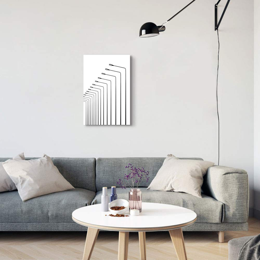 Gronda Canvas Wall Art Linear Sketch Drawings Railway Train Lamp Modern Pictures Framed and Stretched Ready to Hang,16x24