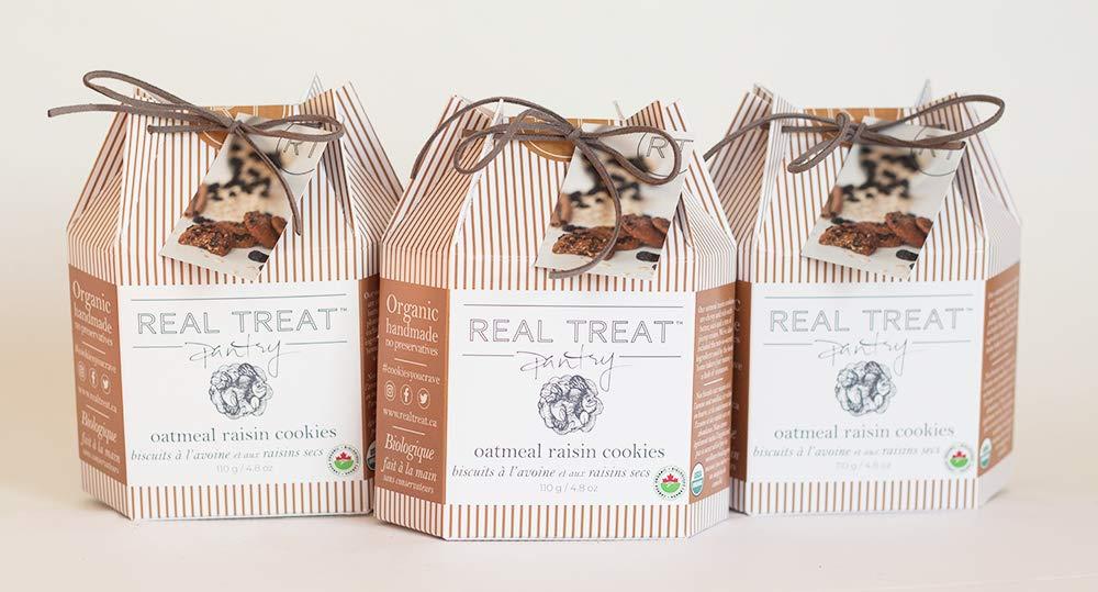 Organic Oatmeal Raisin Cookies by Real Treat Pantry, 3 Pack of Gourmet Handmade Cookies