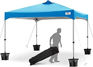 Finfree 10x10 FT Compact Ez Pop up Canopy Tent Outdoor, Folding Canopy Tent, Instant Canopy with Wheeled Carry Bag, Blue