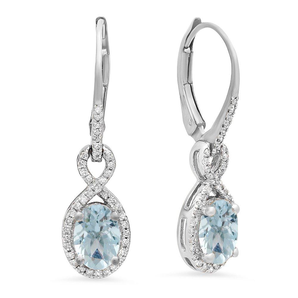 10K White Gold Oval Aquamarine & Round White Diamond Ladies Infinity Dangling Earrings