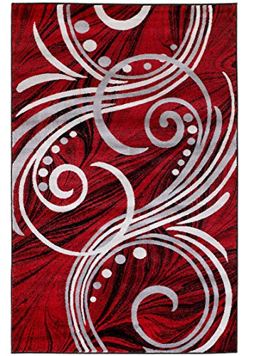 New Summit Elite # 49 Burgundy Black Grey Color Transitional Swirl Area Rug Modern Abstract Rug Many Sizes Available 2x3 2x7 4x6 5x7 8x11 (5X7 ACTUAL SIZE IS 4'.10'' X 7'.2'')