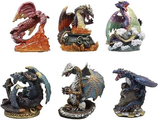 "Mini Dragon Statue Purple and Blue 2.5/"" Mythical Fantasy Dragon Figurine"