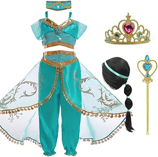 MezzenoPrincess Jasmine Dress For Girls Jasmine Cosplay Disfraz ...