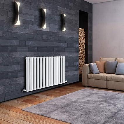Milano Hudson Reed Serie Revive Radiador Calentador Mural Decorativo Diseño Horizontal - Acero Blanco - 633mm