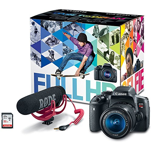- Canon EOS Rebel T6i Video Creator Kit with 18-55mm Lens, Rode VIDEOMIC GO and Sandisk 32GB SD Card Class 10 - Wi-Fi Enabled