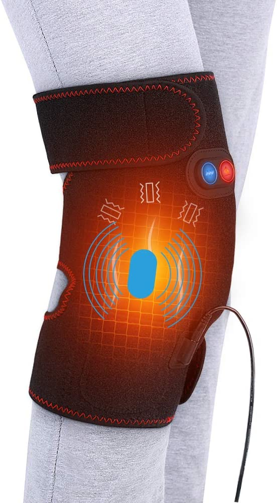 Heated Massage Knee Brace for Men and Women, Adjustable Heated and Massage Knee Heating Pad Thermal Heat Therapy Wrap Hot Compress for Cramps Arthritis Pain Relief Injury Recovery