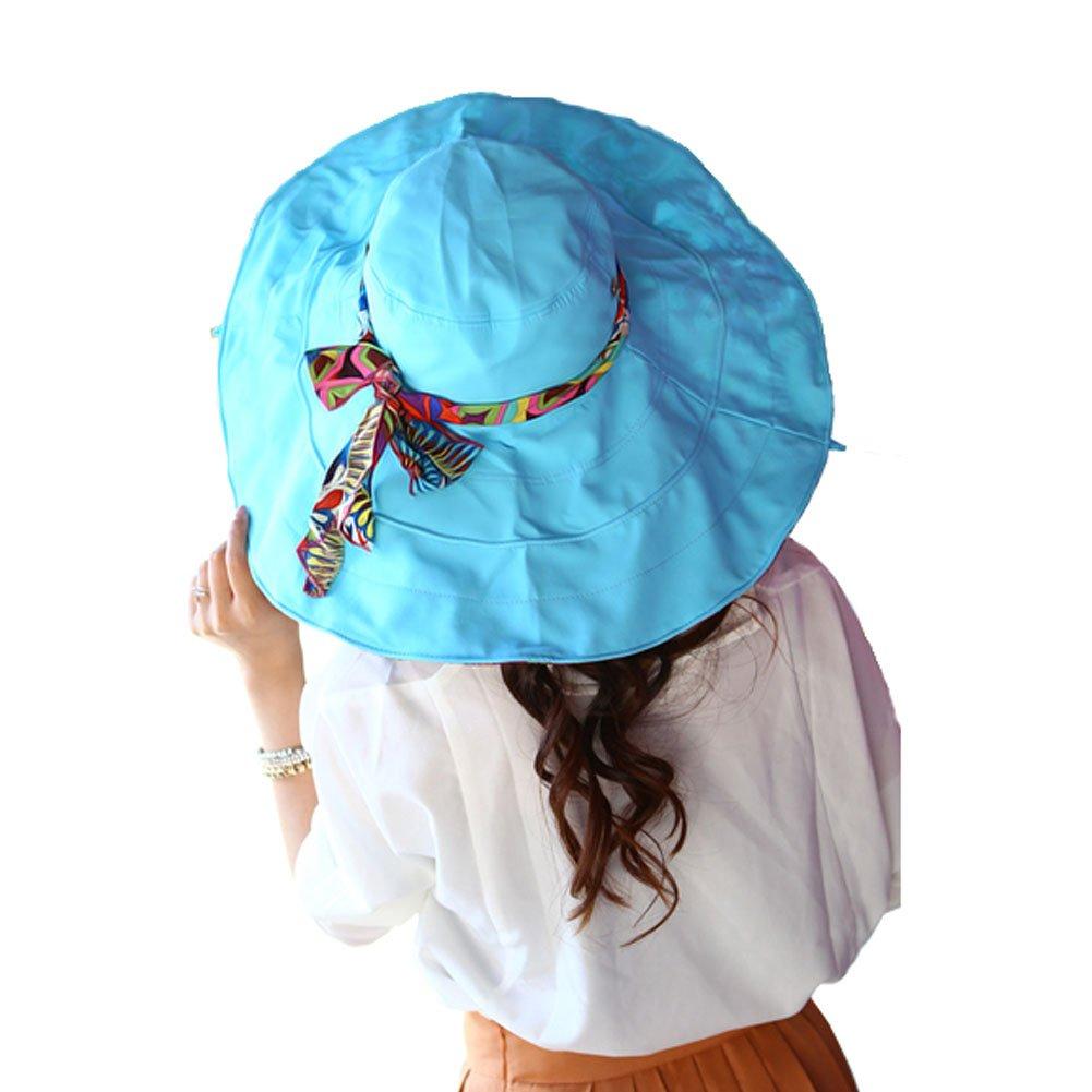 Blue Color Women Sun Hat Wide Brim Beach Bohemia Foldable Cap PANDA SUPERSTORE PS-SPO2419729011-HERMINE00050