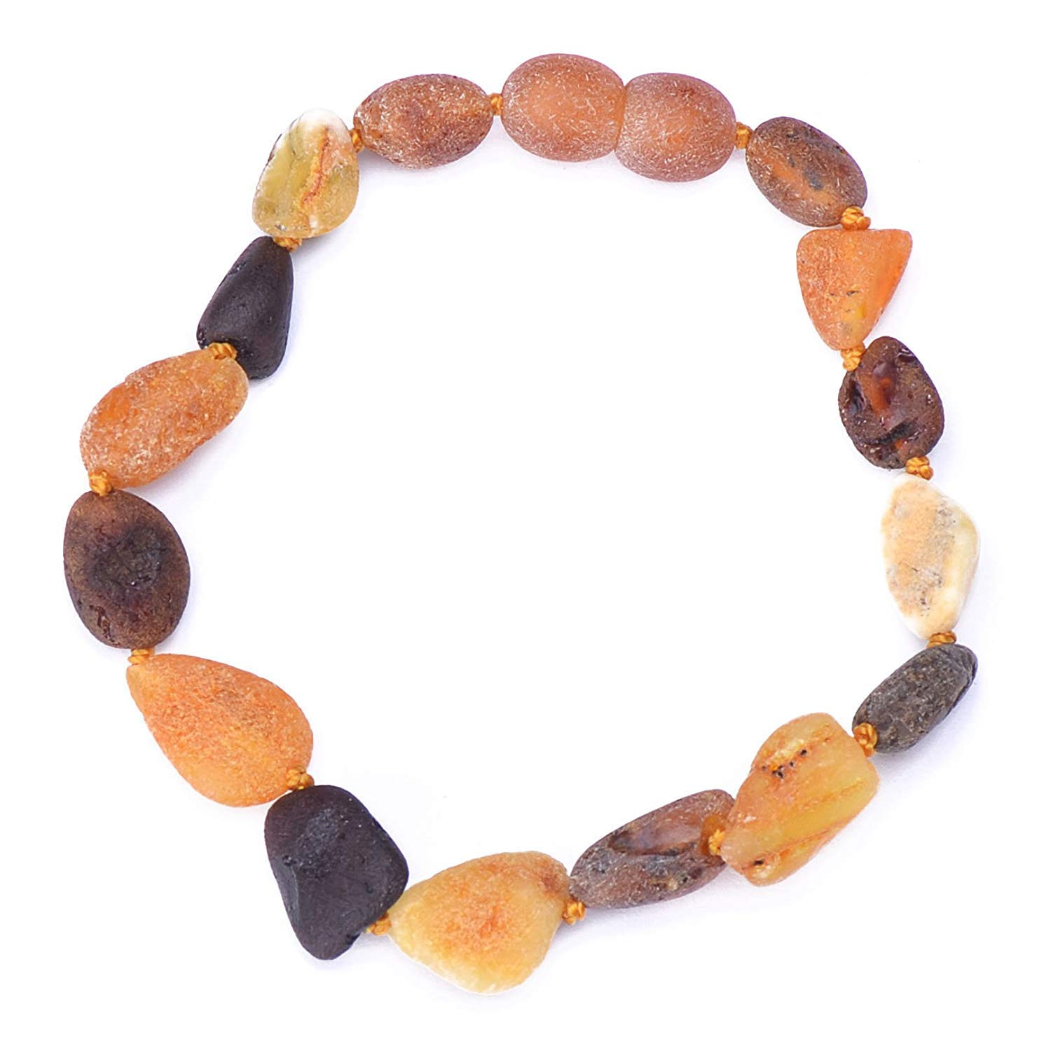 Raw Baltic Amber Bracelet for Adults - Authentic Certified Baltic Amber - Knotted Between Beads - with Screw Clasp - Genuine Baltic Amber (8.6 Inches, Mixed3) by Genuine Amber