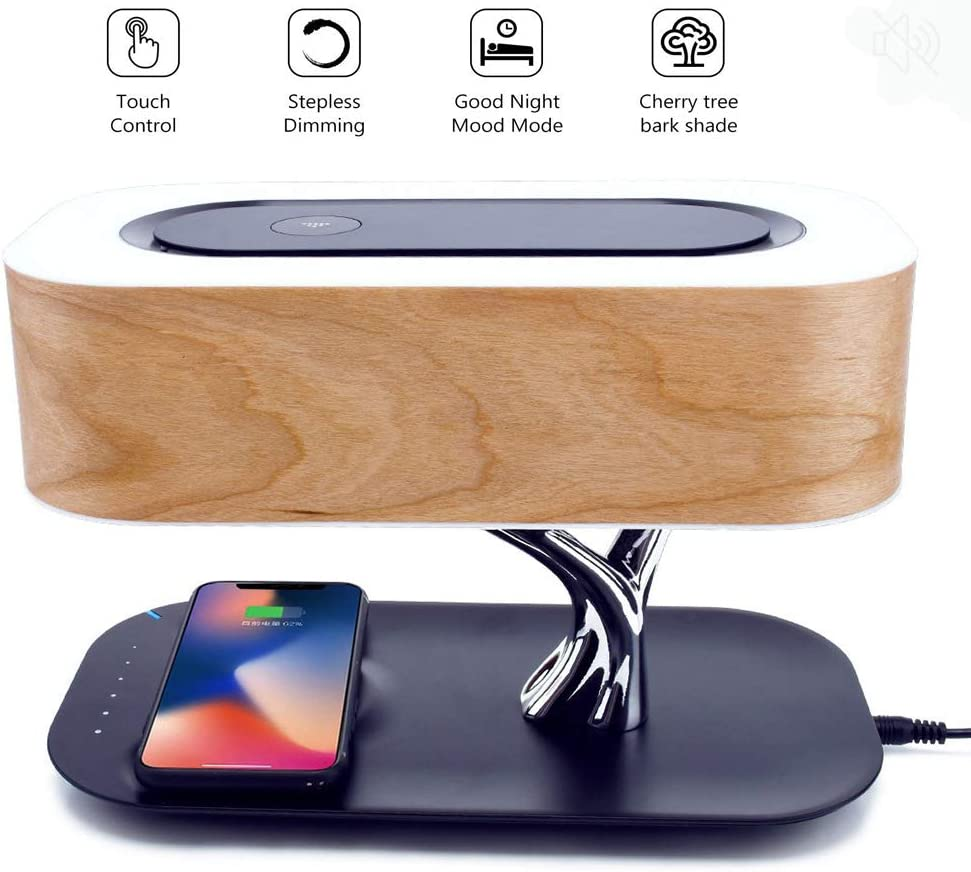 WIVION Wireless Charging Lamp, Bedside Lamp with Bluetooth