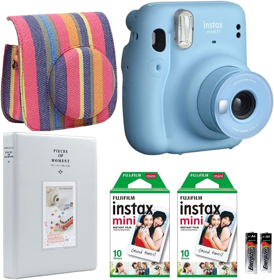 Fujifilm Instax Mini 11 Camera with Case, Fuji Instant Film (20 Sheets) and Photo Album (Sky Blue)