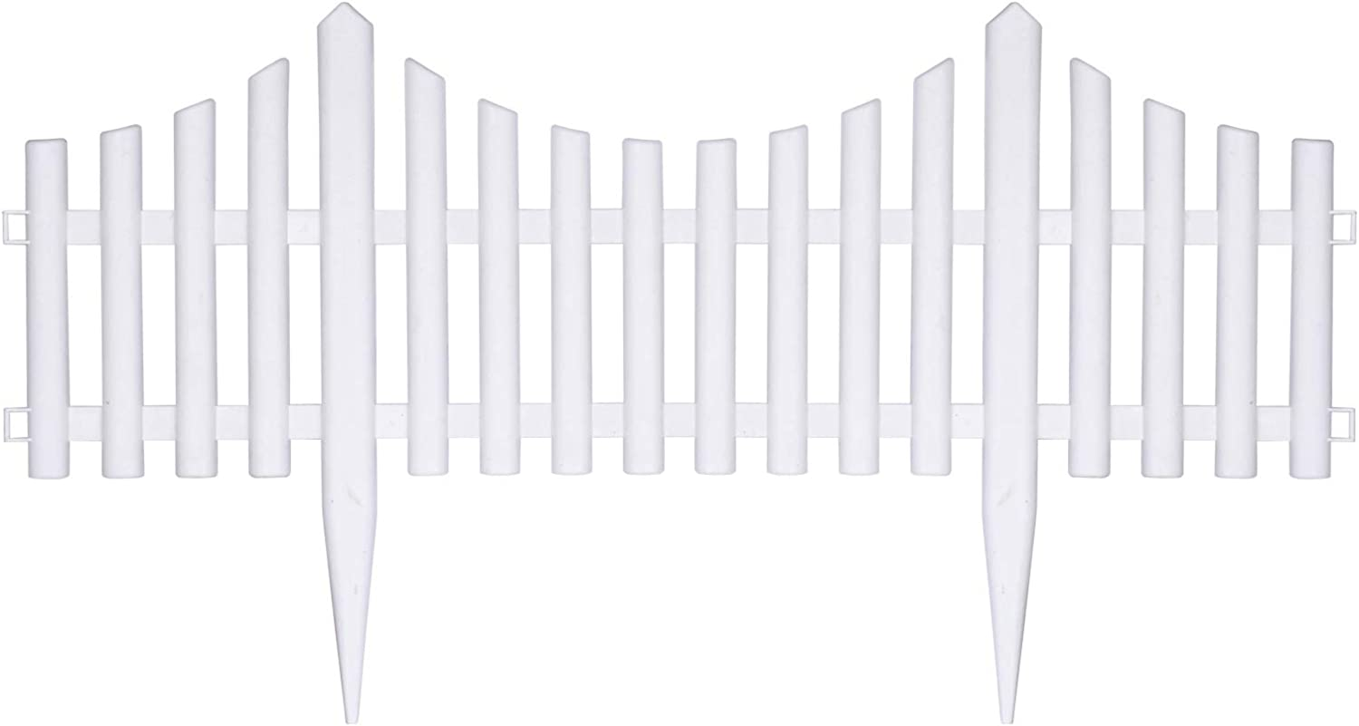 WAREORIGIN 5 Pack Vinyl Fence Pickets- (9 inches Height×10 ft Length in Total) for Garden Flower Bed,Patio,LawnLandscape