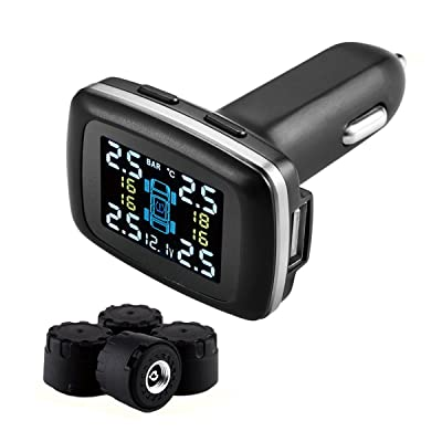 Meirun TPMS Tire Pressure Monitoring System,Cigarette Lighter DIY Real Time Tire Pressure Gauge with USB Charger Port and 4 External Sensors: Automotive