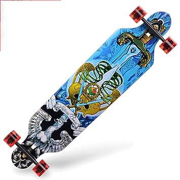 Road Skate Skateboard de Cuatro Ruedas Habilidades para la Calle Tablero de Baile para niños y niñas 4 asaltos Skateboard Longboard para Adultos (Color ...