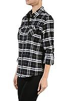 Junior Plus Size Long Sleeve Front Pocket Cowboy Plaid Shirt Top