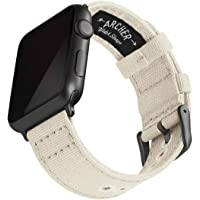 Archer Watch Straps - Canvas Watch Bands for Apple Watch (Alabaster, Gray, 38/40mm)