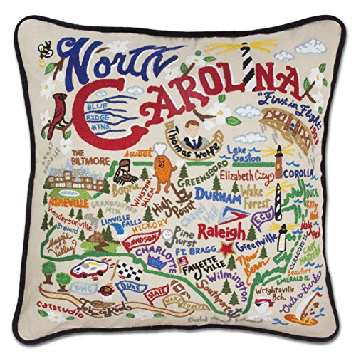 Catstudio North Carolina Throw Pillow Hand-Embroidered 20 x 20