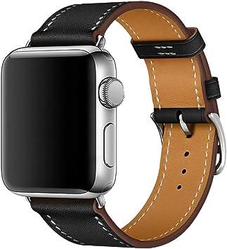 iBazal Correas Compatible con iWatch Series 4 Correa 44mm Cuero 42mm Piel Series 3 Series 2 Series 1 Pulseras Bandas Reemplazo para Apple Watch Hombres Mujer Reloj - Negro 42/44: Amazon.es: Electrónica