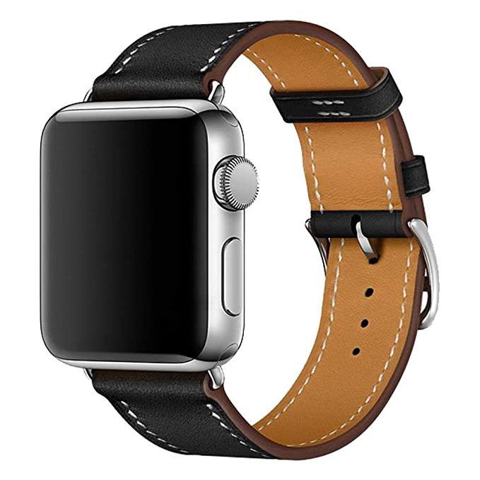 iBazal Correas Compatible con iWatch Series 4 Correa 44mm Cuero 42mm Piel Series 3 Series 2 Series 1 Pulseras Bandas Reemplazo para Apple Watch ...