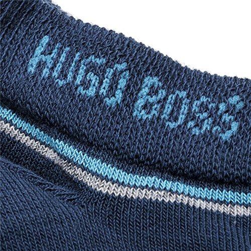 Hugo Boss 50381984 Mens 2 Pair Combed Cotton Plain and Branded Sneaker Socks Blue 9-11.5 by Hugo Boss (Image #1)