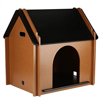Caseta de Exterior para Perros, Casa de Madera Grande para Mascotas Gato Jardin Desmontable Decorativo Animal Cabaña 52x38x53cm: Amazon.es: Productos para ...