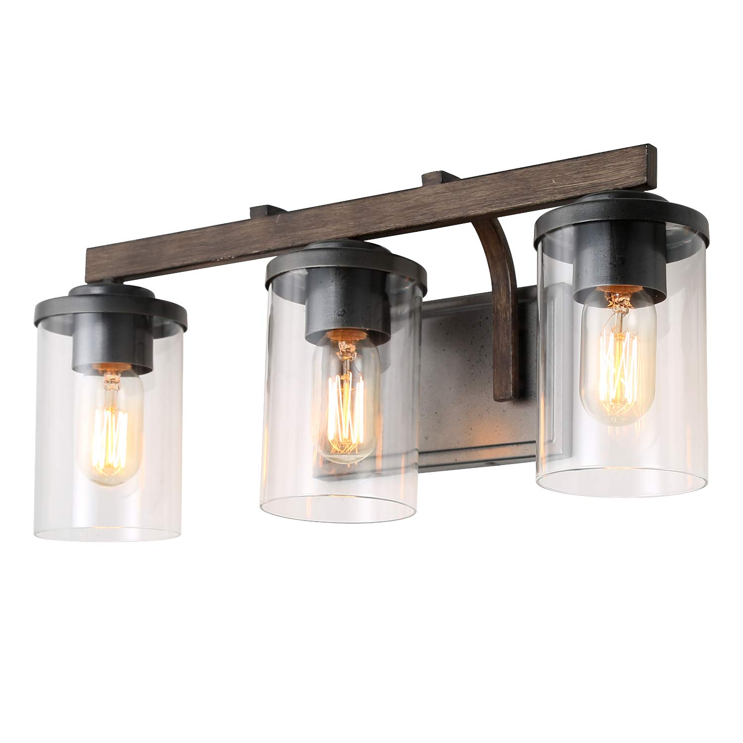 LALUZ 3-Light Rustic Bath Vanity Light Fixture Wall Sconces with Clear Glass Shade, Faux Wood