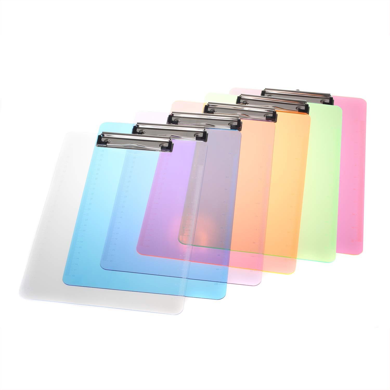 Plastica robusto Portablocco A4 con clip in metallo gommato Set di 6 Portablocchi in 6 colori Porta-pad Lavagna da scrittura Ideale per il Lavoro Quotidiano 6 Pezzi TKD8022 TUKA-i-AKUT